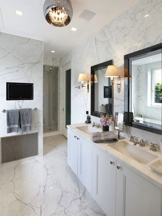 Amazing Master Bathroom With Marble Slab Walls White Double Vanity Calcutta Countertops