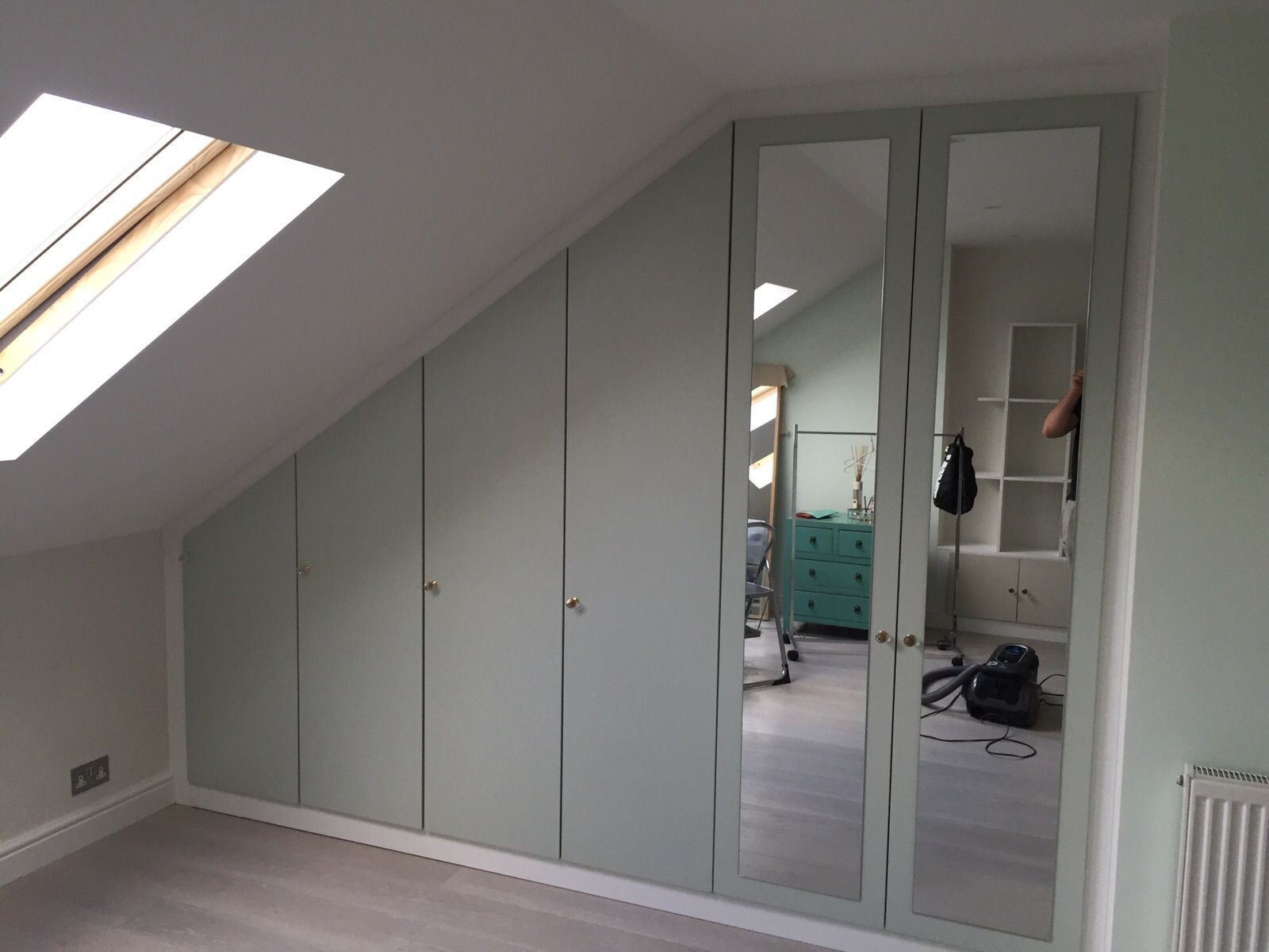 Bespoke Pistachio Fitted Wardrobe with Mirrored Doors ...