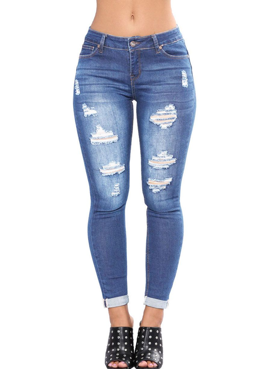 caf47938e92 Wash Denim Ripped Skinny Pencil Jeans Butt Lifting Skinny Jeans Women  Jeans Sexy Lingeire