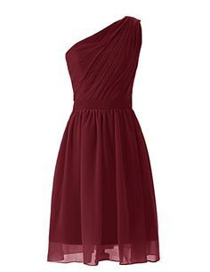 Dresstells Short One Shoulder Mint Bridesmaid Dress Party Dresses For Women Size 2 Burgundy