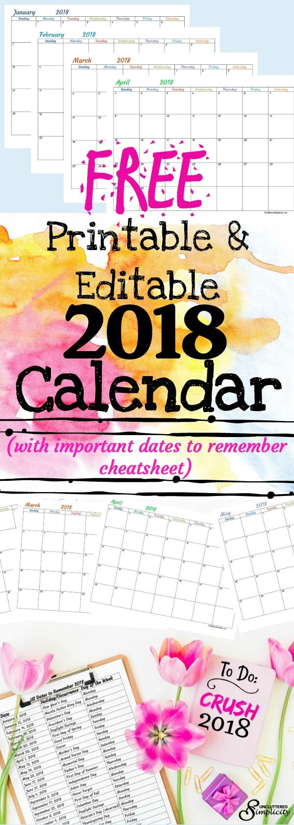 Free 2018 Printable Calendar-To Help You Crush Your Year