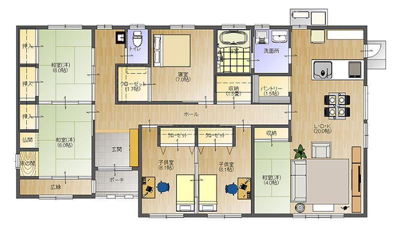 43坪 和モダンの平屋 大分安くていい家 Com 創建 40坪 間取り