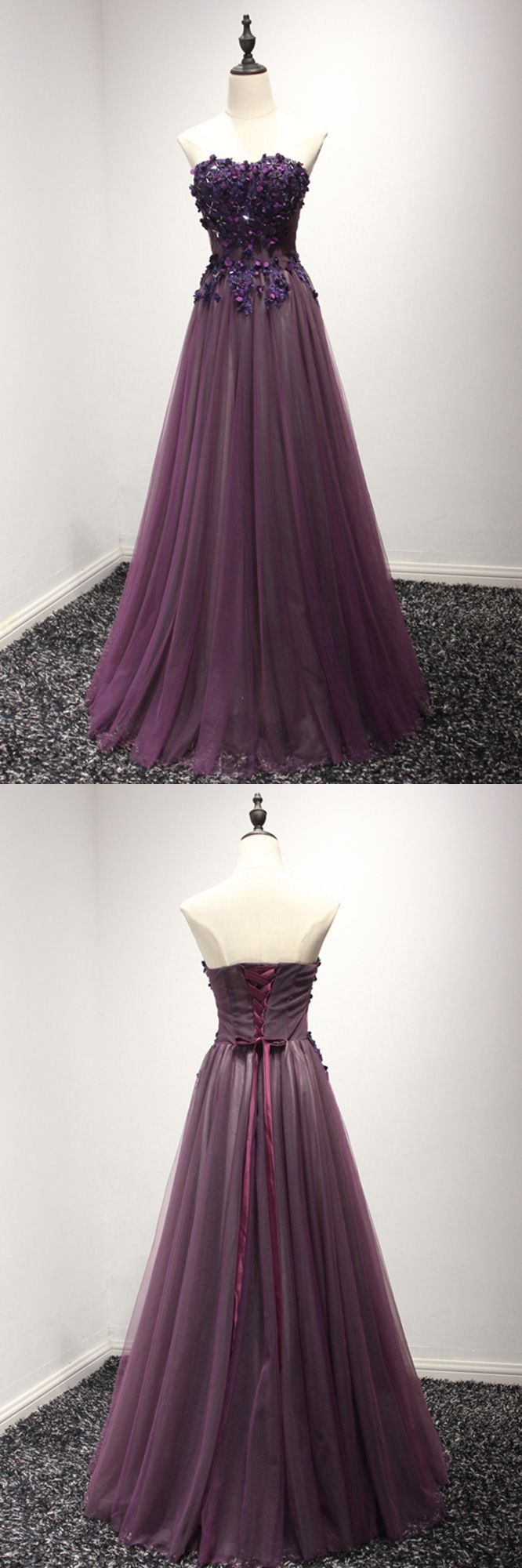 Purple long floral prom formal dress in long for