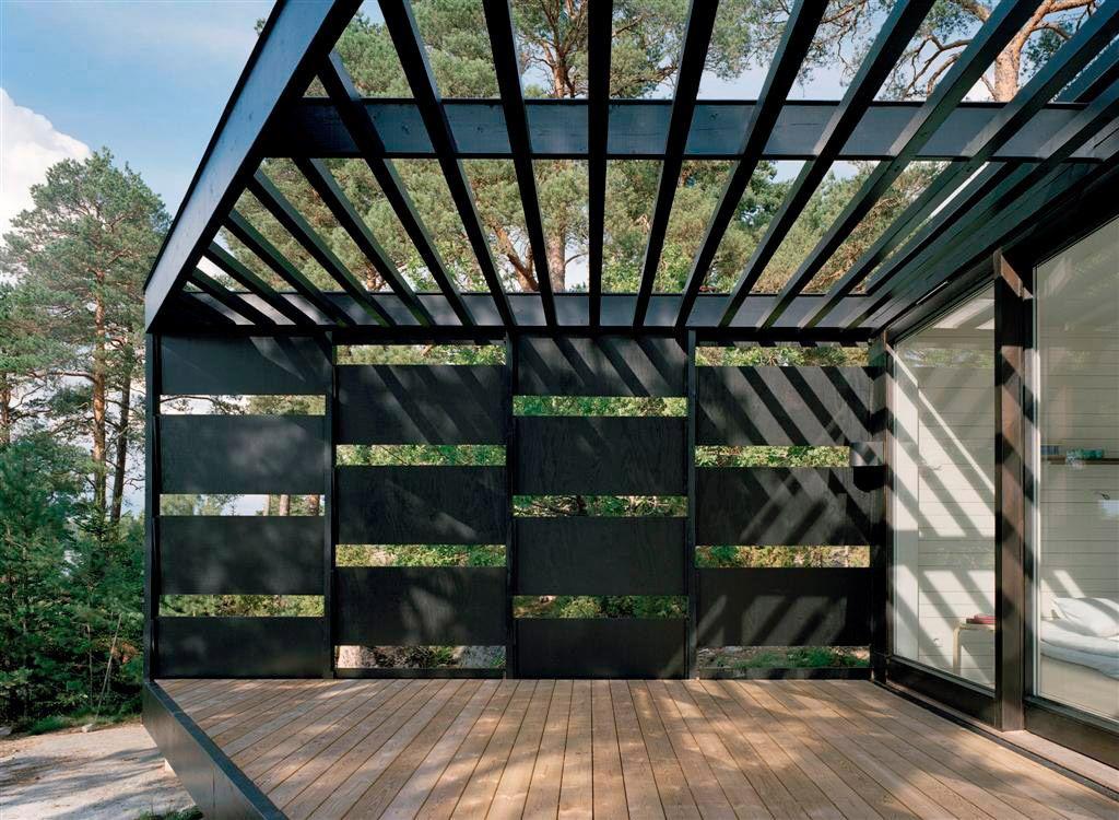 Maison contemporaine toit plat - grande baie vitrée - vue sur mer ...