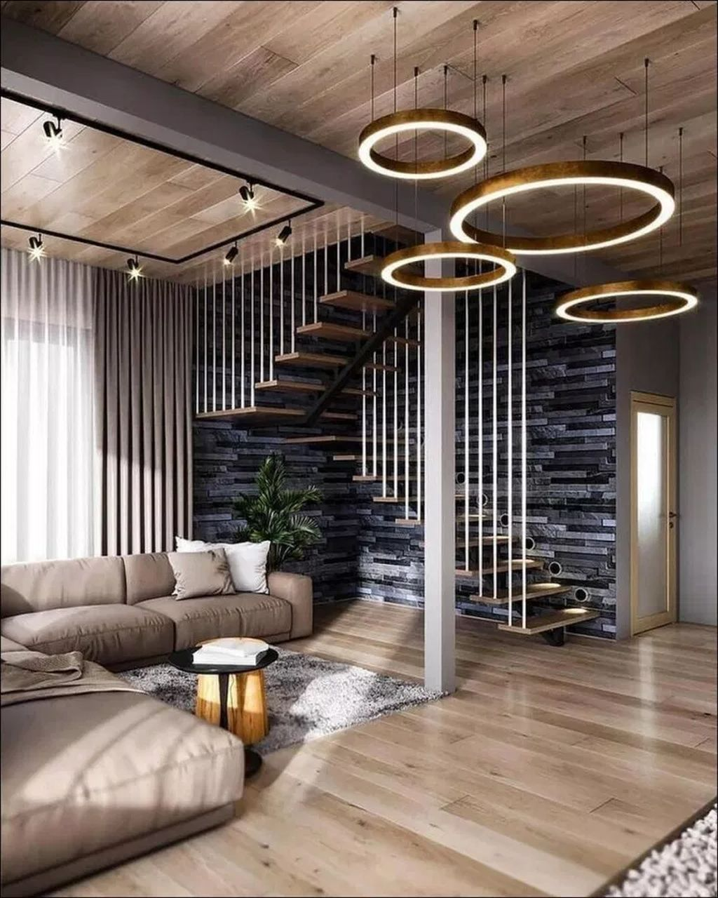 Cool 40 Wonderful Staircase Design Ideas That Inspires Living Room | Stair Room Exterior Design | 3 Floor Building | Box Type | Brick | Open Plan | Amazing
