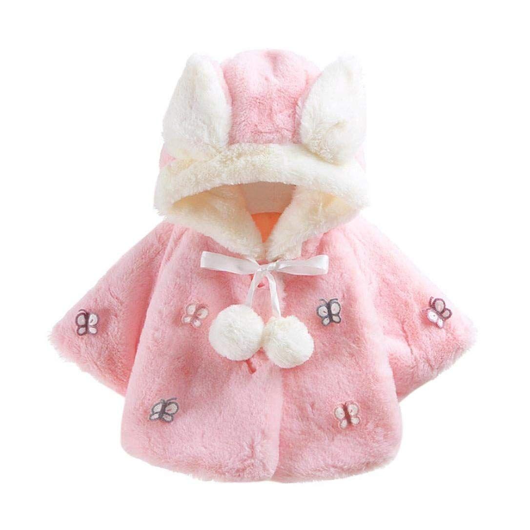 Baby Infant Newborn Girls Casual Fur Winter Warm Hooded Coat Bow Cloak Outwear