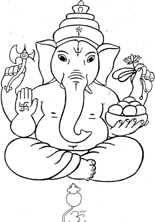 ganesha drawing for kids - Colour In Stencils
