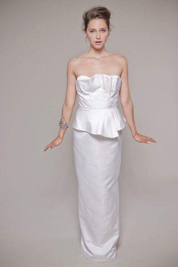 f1e60d239b Elegant Wedding Dress  Fluted Peplum Bustier and Column Skirt ...