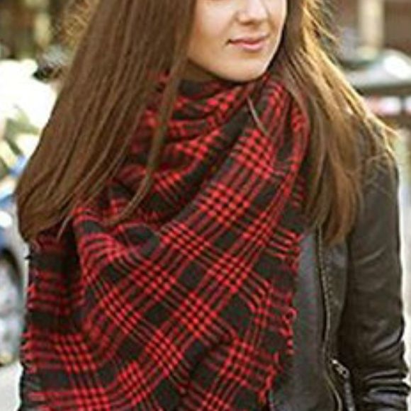"""⭕️VALENTINE⭕️PLAID BLANKET SCARF The must have fashion accessory of the season! ❄️Ample 53"""" X 53"""" square allows you to style it many ways.  Beautiful red & black plaid pattern, perfect for Valentine's Day!❤️You will reach for this all winter long! ❄️⛄️❤️ You may purchase this listing, price has already been discounted and is firm. Free elk deer pin with purchase! Bliss 'n That Boutique Accessories Scarves & Wraps"""