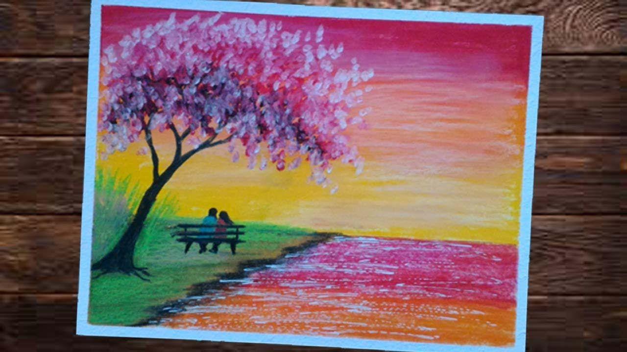 Cara Menggambar Dan Mewarnai Pemandangan Sunset Gambar5
