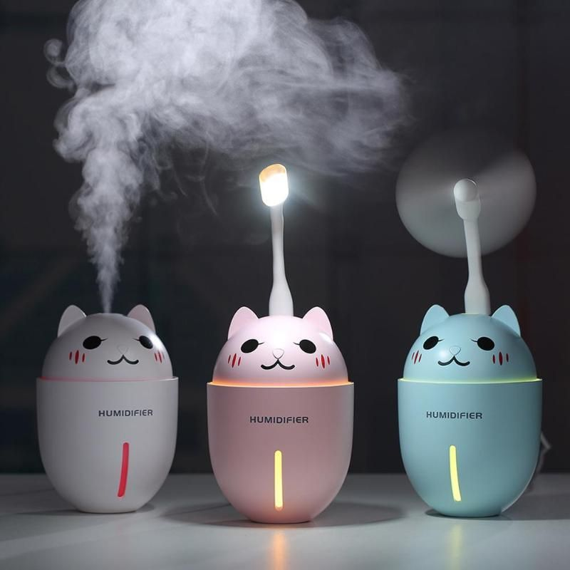 3 in 1 Multi functional Portable Mini Humidifier Cute Cat Shape USB Ultrasonic Mist Air Humidifier Fragrance Diffuser with Mini Fan LED Light for Car