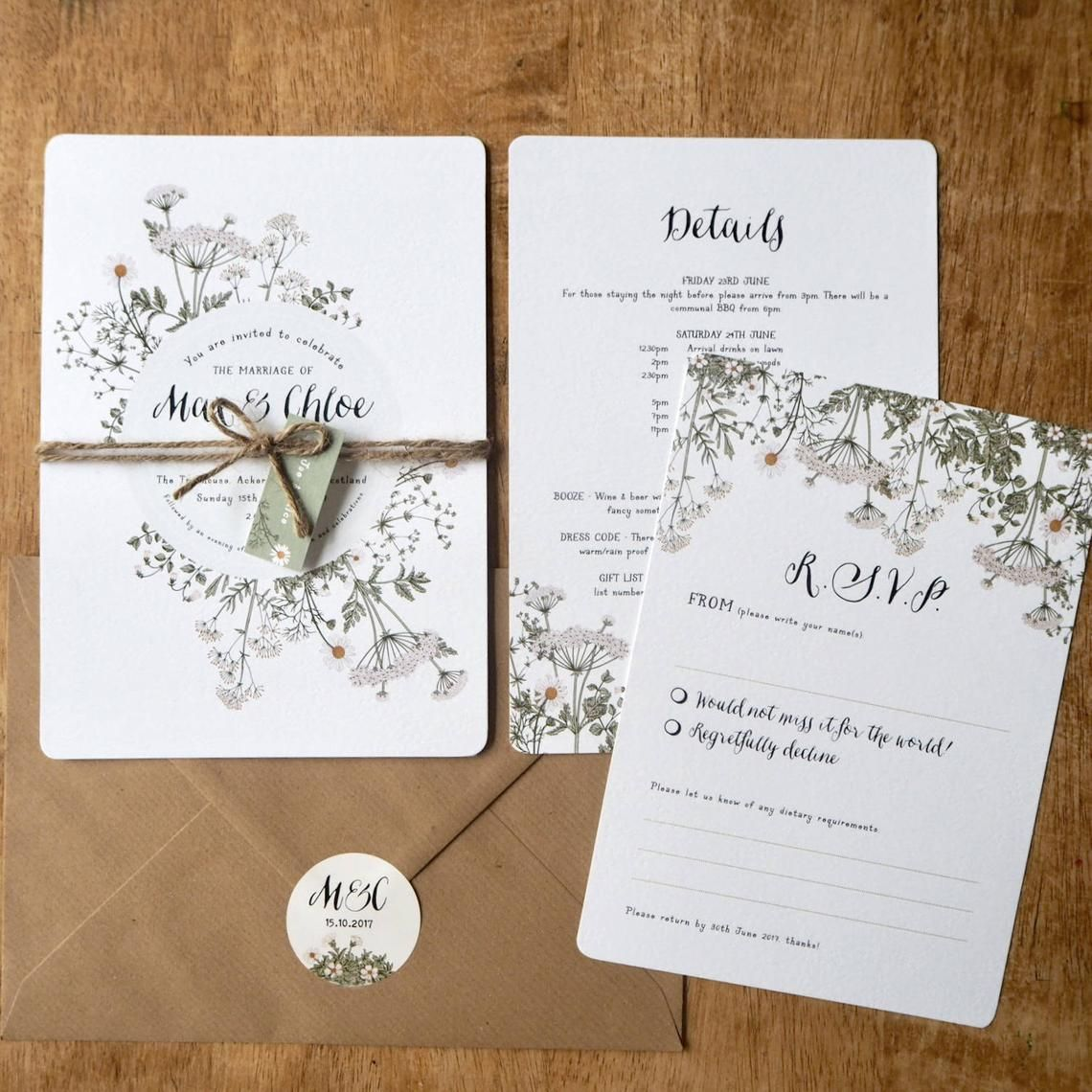 Summer Meadow Wedding Invitation And Matching Stationery Etsy Wildflower Wedding Invitations Wedding Invitations Botanical Wedding Stationery