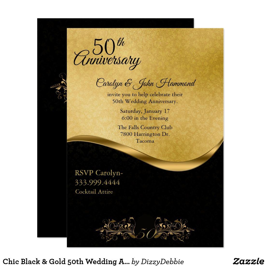 Chic Black Gold 50th Wedding Anniversary Invitation Zazzle Com 50th Wedding Anniversary Invitations 50th Wedding Anniversary Wedding Anniversary Invitations