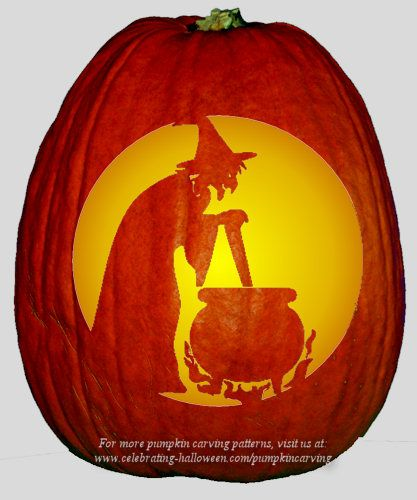 Halloween witch with cauldron stencil free pumpkin