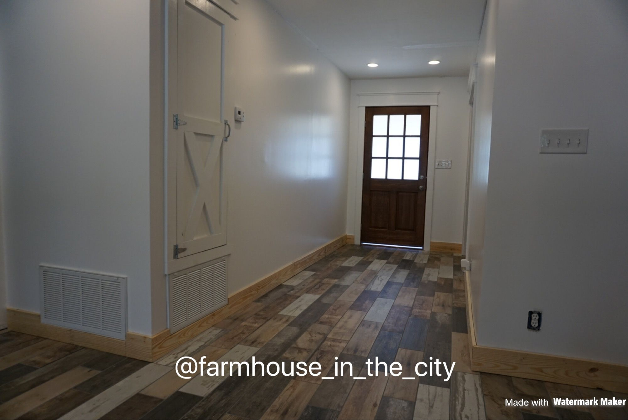 The Foyer Is Coming Together Added A Farmhouse Ac Closet Door New Front Door Wood Like Tile And Started On Baseboard A Wood Like Tile Farmhouse Front Door