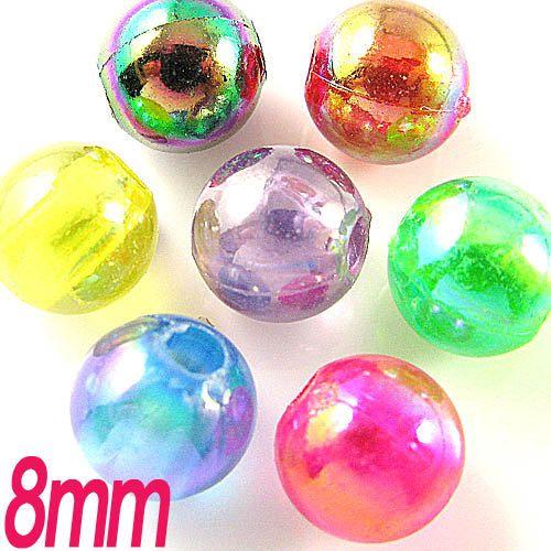 150PCS 8mm Rainbow AB shine plastic round bead by craftsutopia, $2.80