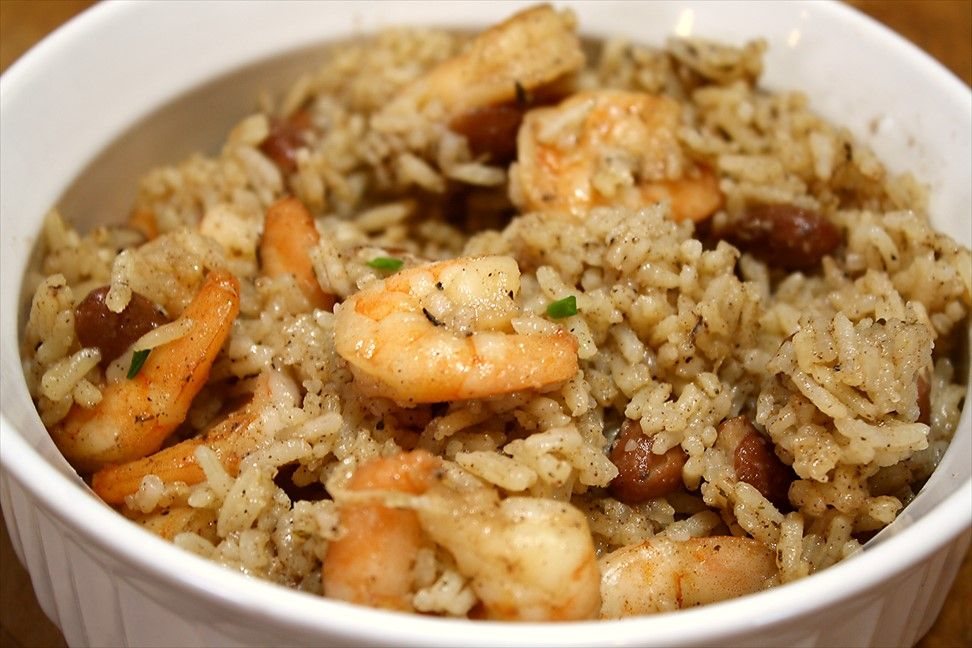 Spicy Jerk Shrimp, Rice & Beans -Rice Cooker Recipe