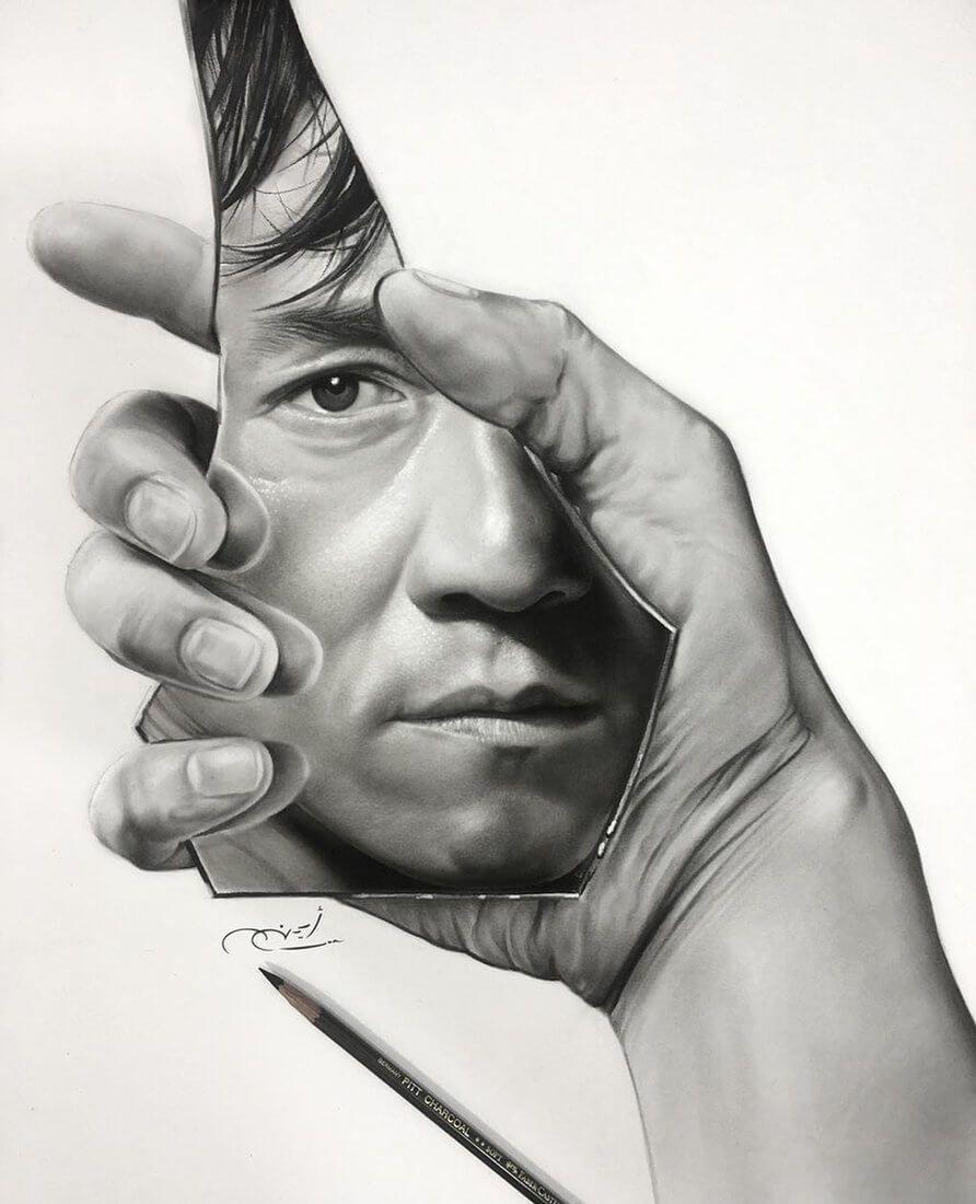 Realistic 3D Illusion Portrait Drawings