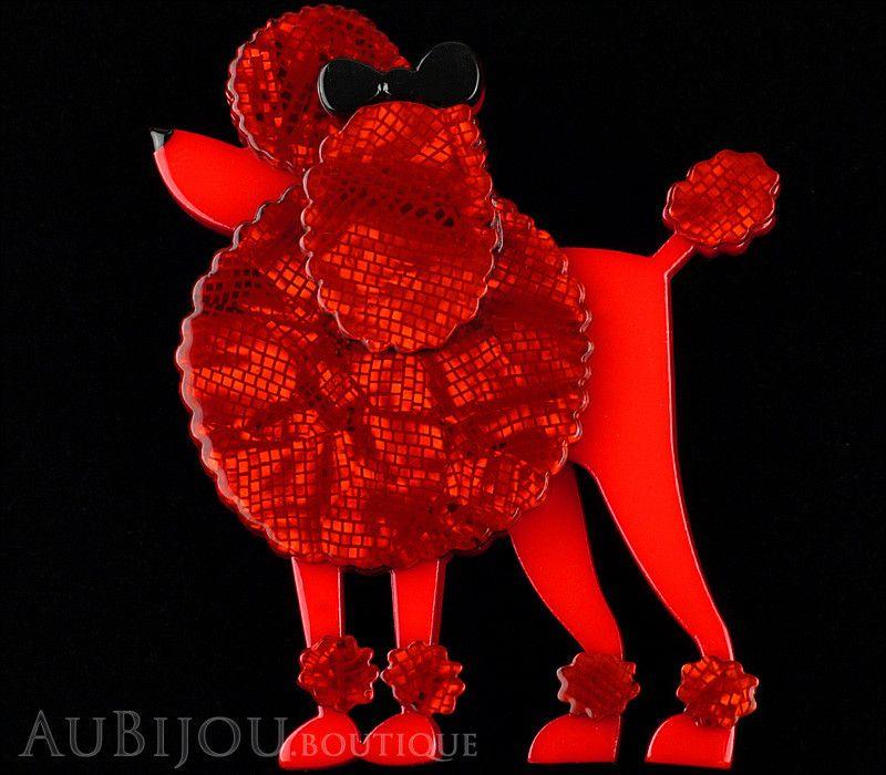 Erstwilder poodle dog brooch pin madame amore red dog