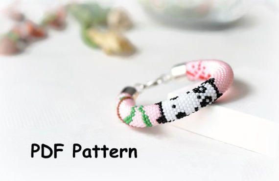 PDF Pattern for Bead crochet bracelet \