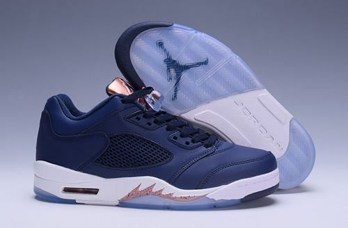 Authentic Jordan Retro 5 Low Dark Blue White Light Gold Shoe For Sale