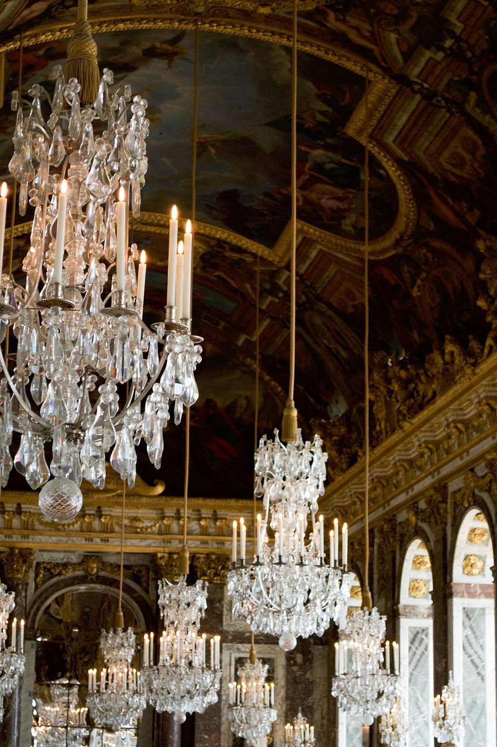 Stunning chandeliers in the hall of mirrors versailles chateau stunning chandeliers in the hall of mirrors versailles chateau paris see more mozeypictures Images