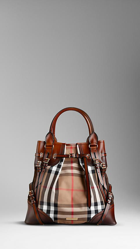 5700e1d31481 Burberry - LARGE BRIDLE HOUSE CHECK WHIPSTITCH TOTE BAG...I LOVE THIS BAG!