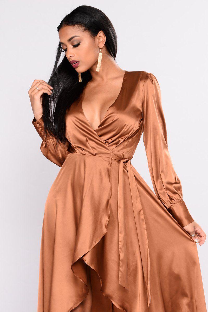9f2af16148 Sulty Vixen Satin Wrap Dress - Brown