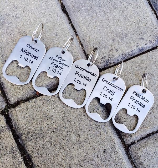 Mens Wedding Party Gifts: Personalized Bottle Opener Key Chain/ Groomsmen Gifts