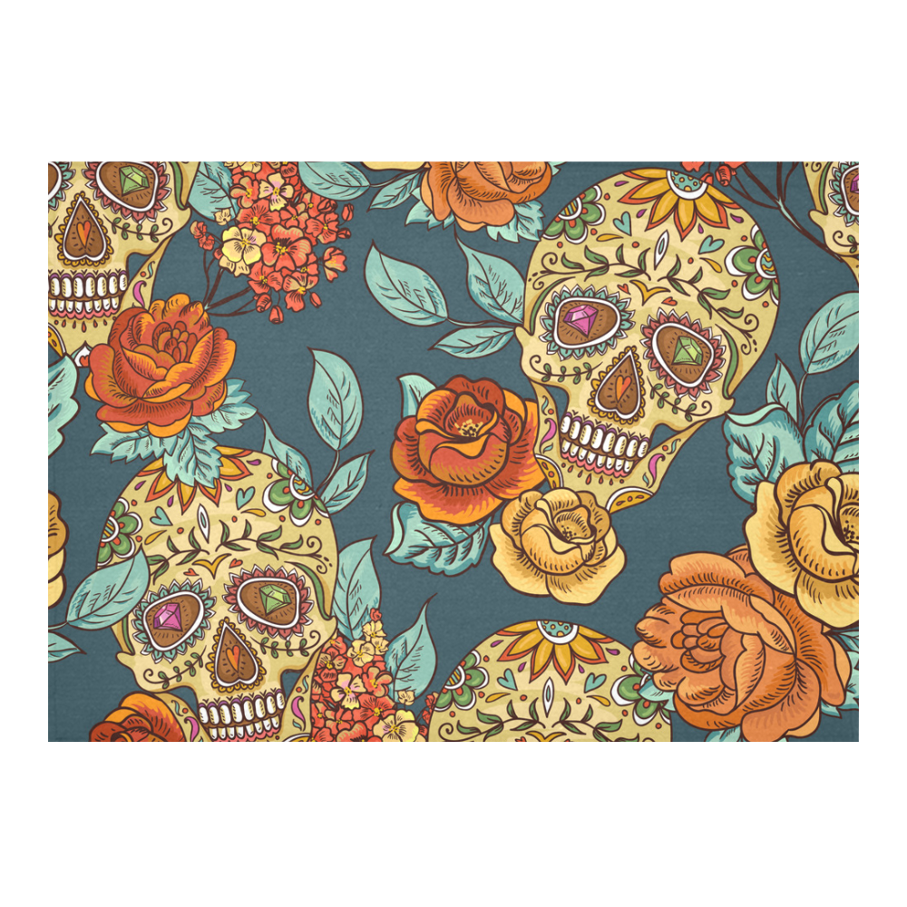 Skull Roses Cool Floral Pattern Cotton Linen Tablecloth 60