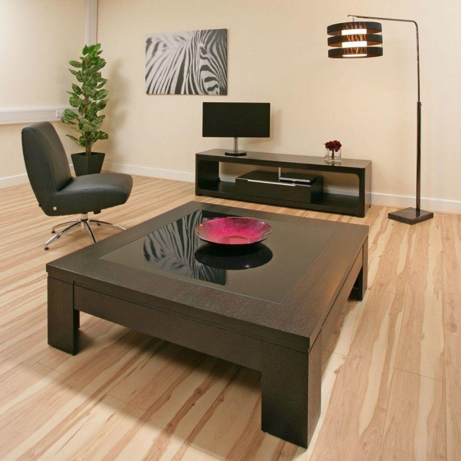 Best Coffee Table Large Square Black Oak Black Glass Modern Hi 400 x 300