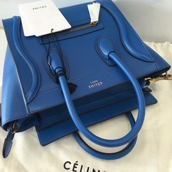 47ee6192573f Auth Celine Nano Royal Blue 100% New