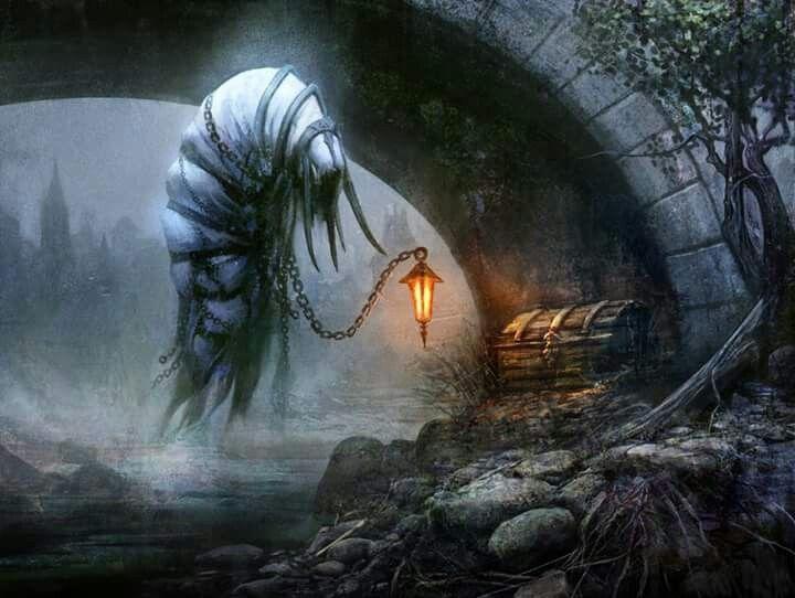 Vigília - Quimera Feerico, usualmente empregado por fadas que querem proteger seus tesouros. O Vigília é encontrado em masmorras, pontes e lugares abandonados e colocado em servidão por contrato.