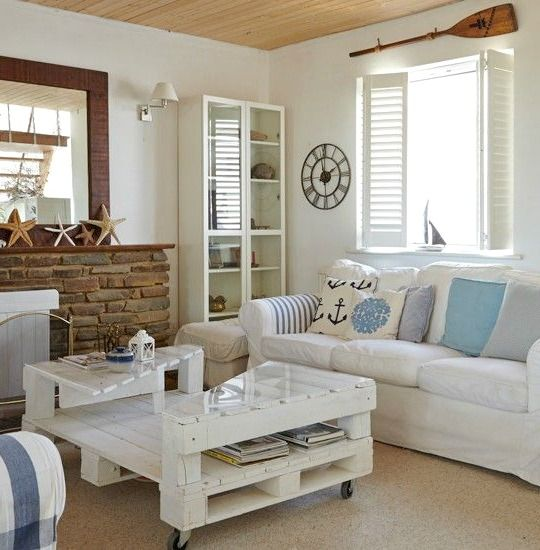 Coastal Living Room With Shutters: Shutters, Shots Of Blue And Weathered  Wood Create Instant Coastal Appeal In An All White Living Room.