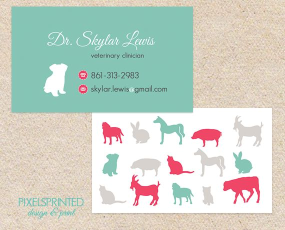 veterinary business cards, animal shelter cards, god rescue ...