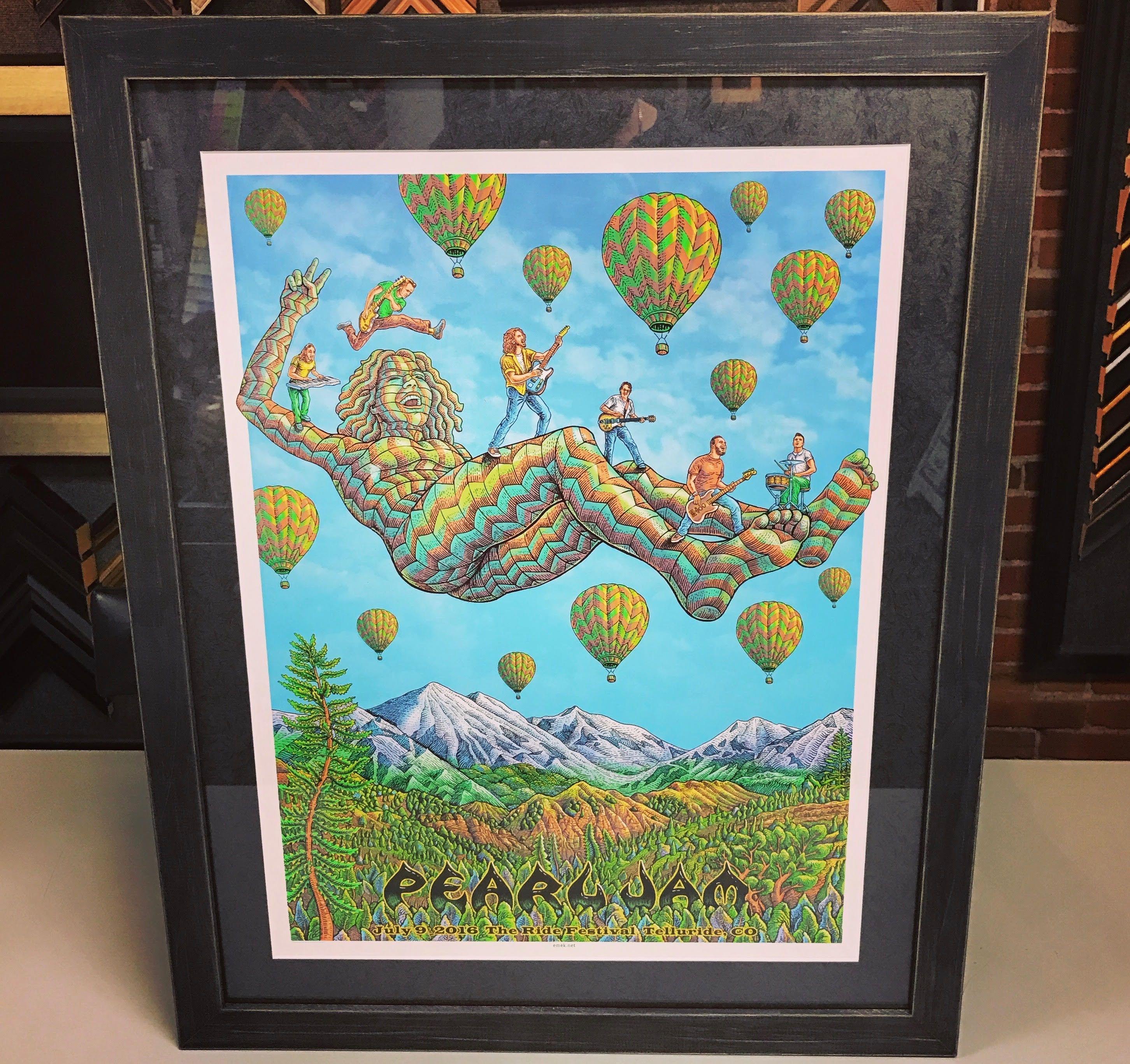 Custom Framed Pearl Jam Print Using A Textured Metallic Mat Uv