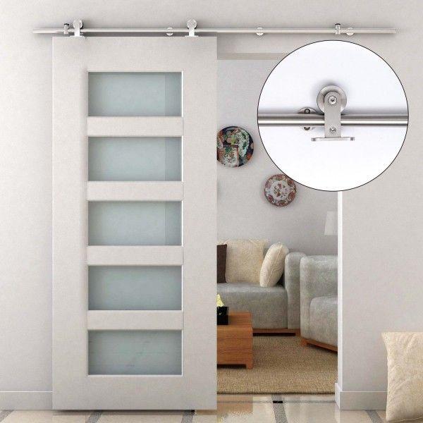 Homcom kit para puertas corredizas madera riel acero for Puerta lavadero
