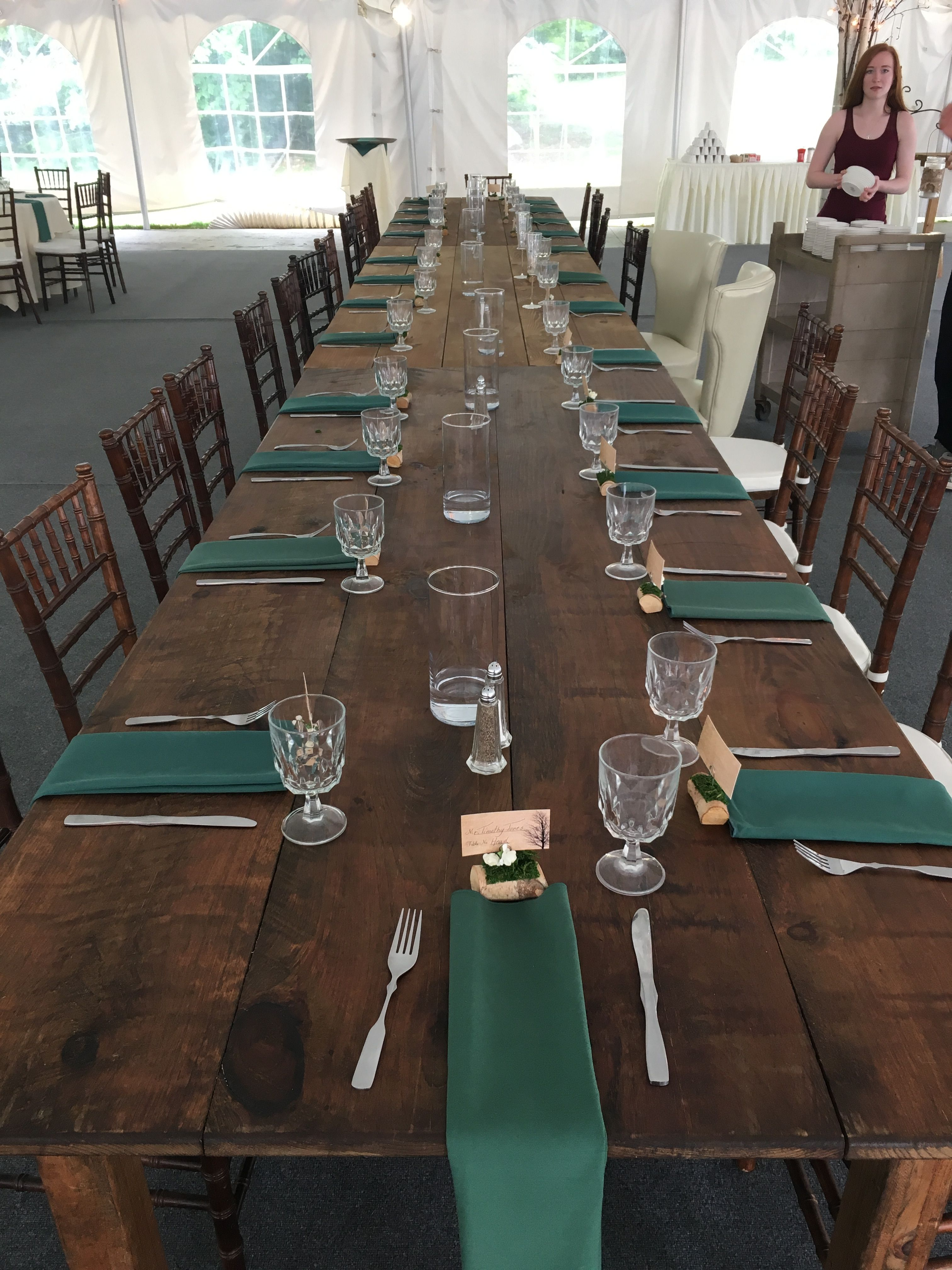 Head table setup on 7/7 with an upgrade using the farm