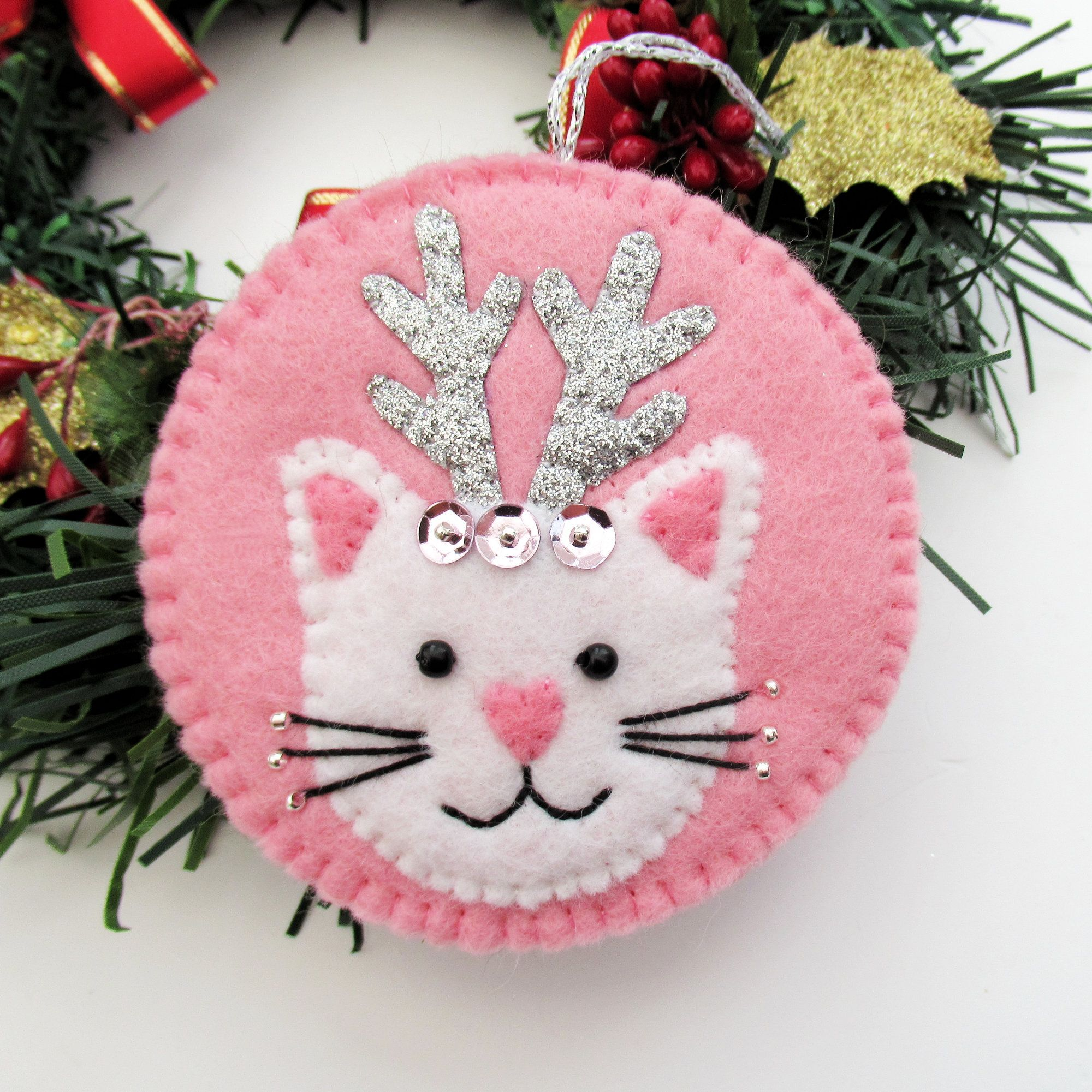 Cat With Antlers Christmas Tree Felt Ornament Decoration Cat Lover Gift Christmas Cat Decor Pink Christmas Ornament Felt Ornaments Felt Crafts Christmas Pink Christmas Ornaments