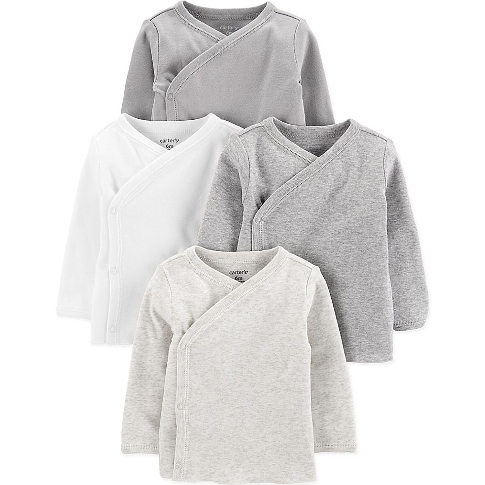 Simple Joys By Carter/'s Baby 4-Pack Long Sleeve Kimono Bodysuit White