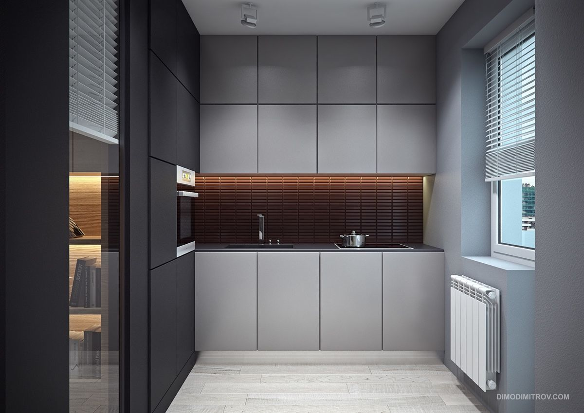 Another Fav Mid Tone Grey Cabinets With Copper Accessories Grey Kitchens Grey Kitchen Grey Kitchen Tiles