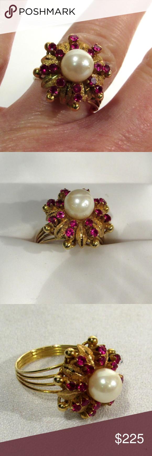 Las 18k Yg 16 Rubies Cultured Pearl Ring