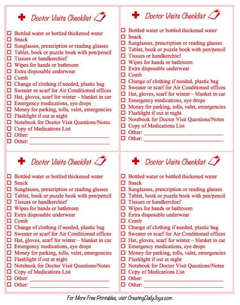 Caregiver\u0027s Checklists for Outings and Doctor Visits Creating