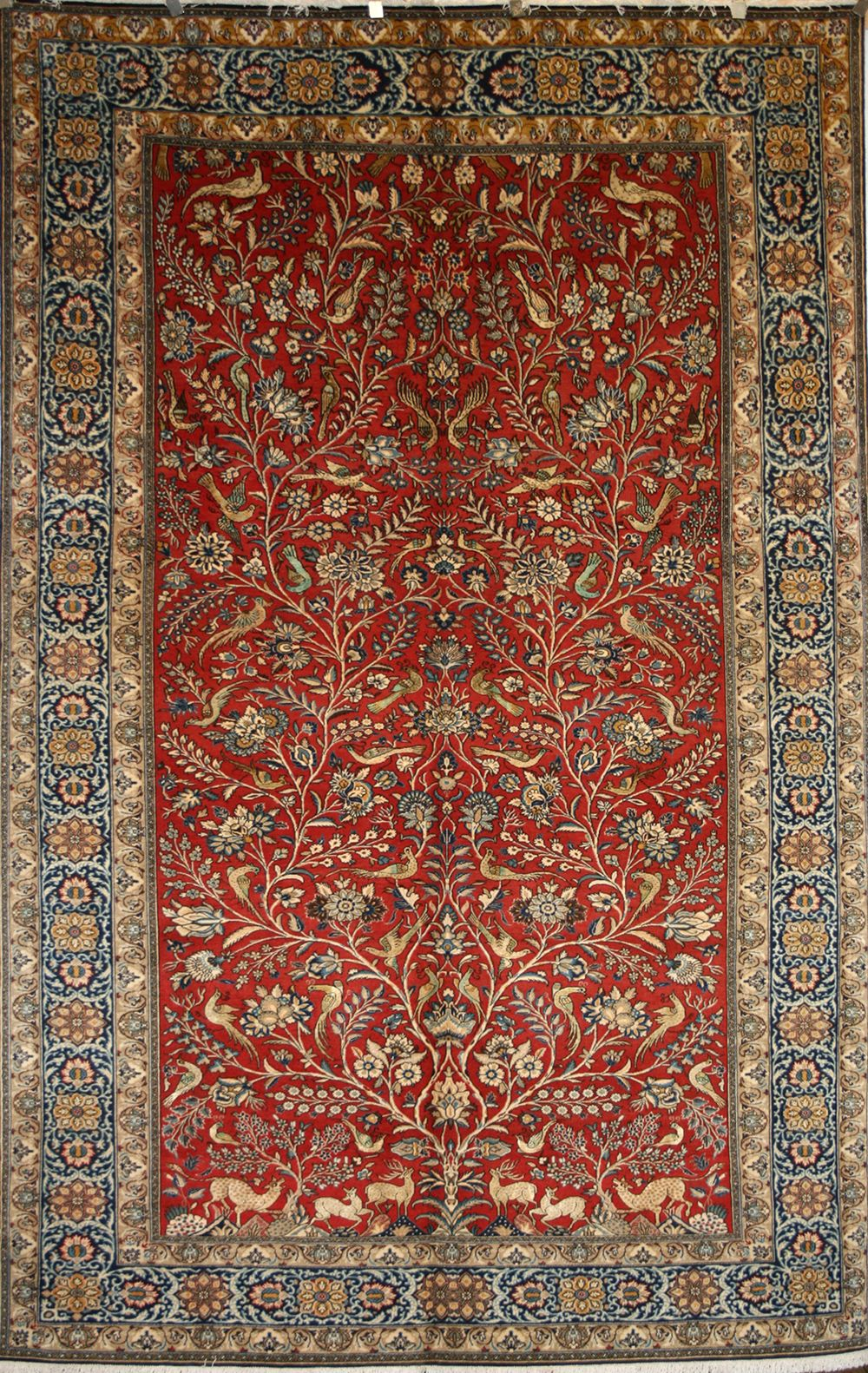 Wool And Silk Qom Rug In Tree Of Life Pattern 8995