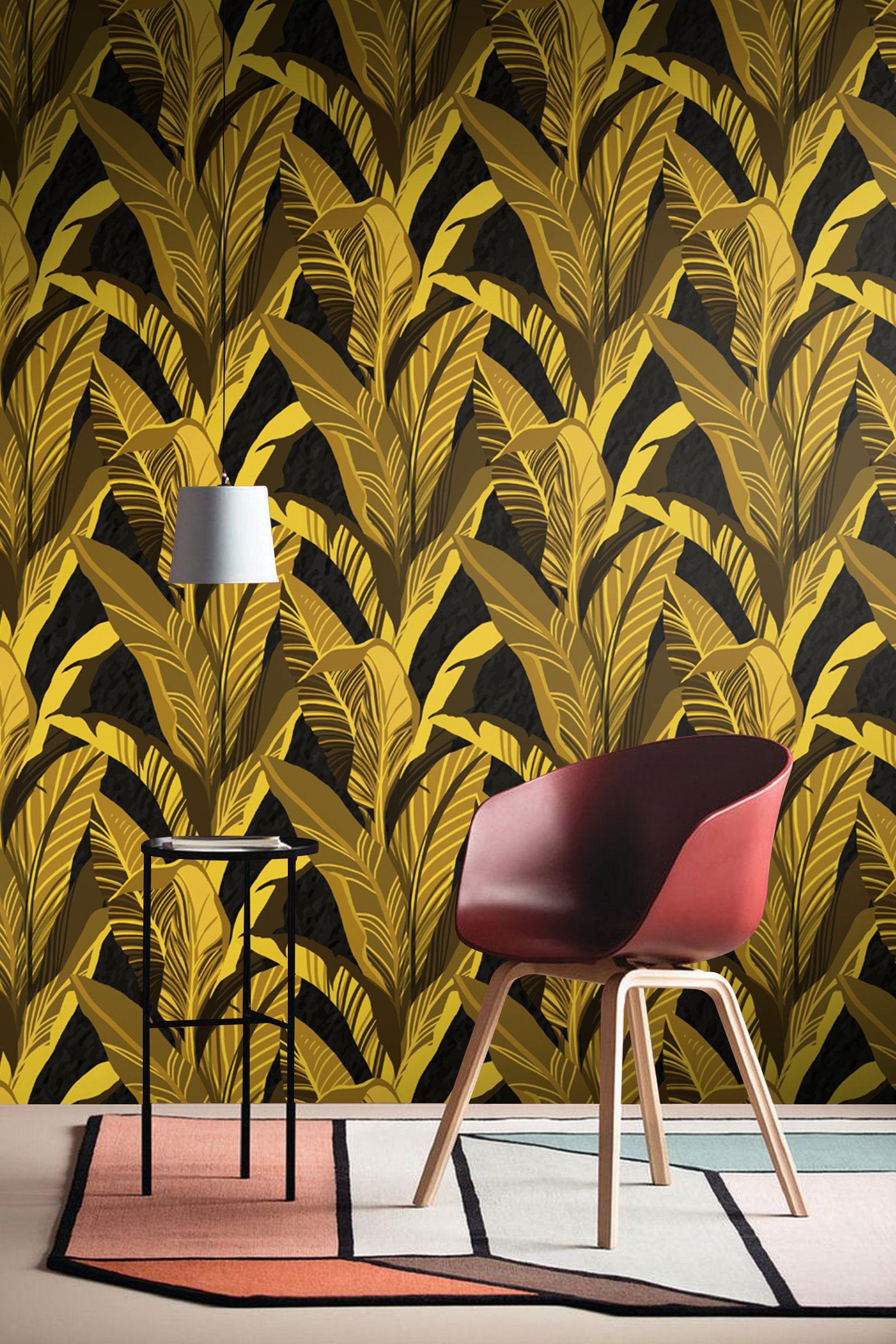 Yellow Banana Leaves Wallpaper Tropical Bedroom Wall Poster Etsy Banana Leaf Wallpaper Leaf Wallpaper Living Room Murals