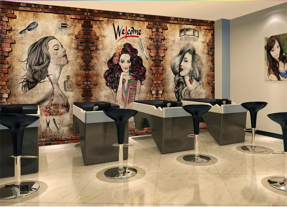 Vintage Barber Shop Mural Wallpaper Hair Salon Hairstyle Center Industrial Decor Cement Wall Brick Wall Back Mural Wallpaper Brick Wall Background Cement Walls