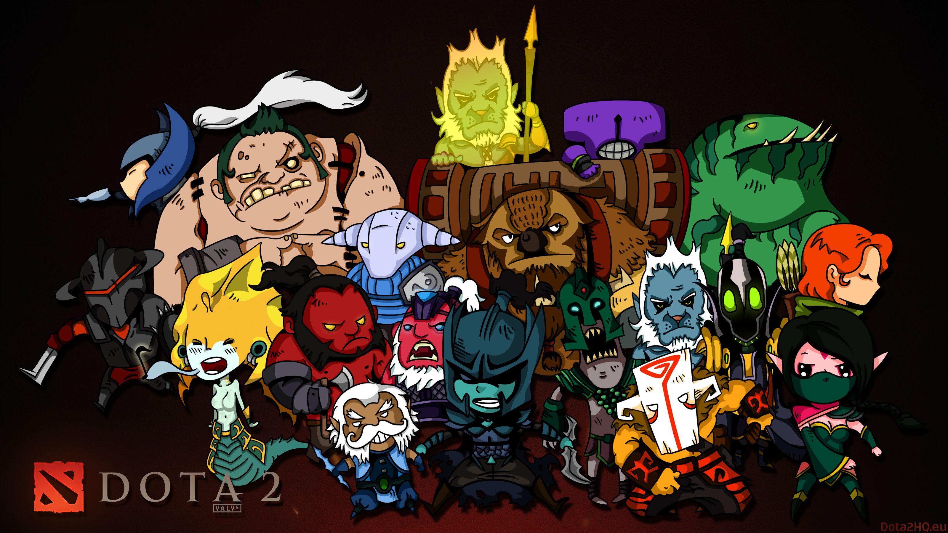 Dota 2 Chibi Heroes Wallpaper 3200x1800 px Free Download ...