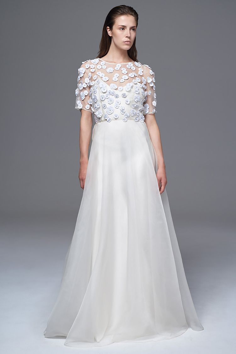 The Opal Sheer Silk Organza Dress With 3d Flowers And Stone Centres Bridal…: Beautiful Stone Wedding Dress At Websimilar.org