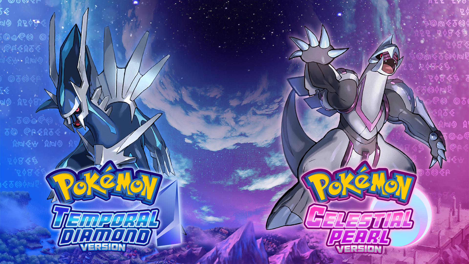 pokemon temporal diamond and celestial pearl fan-concept design
