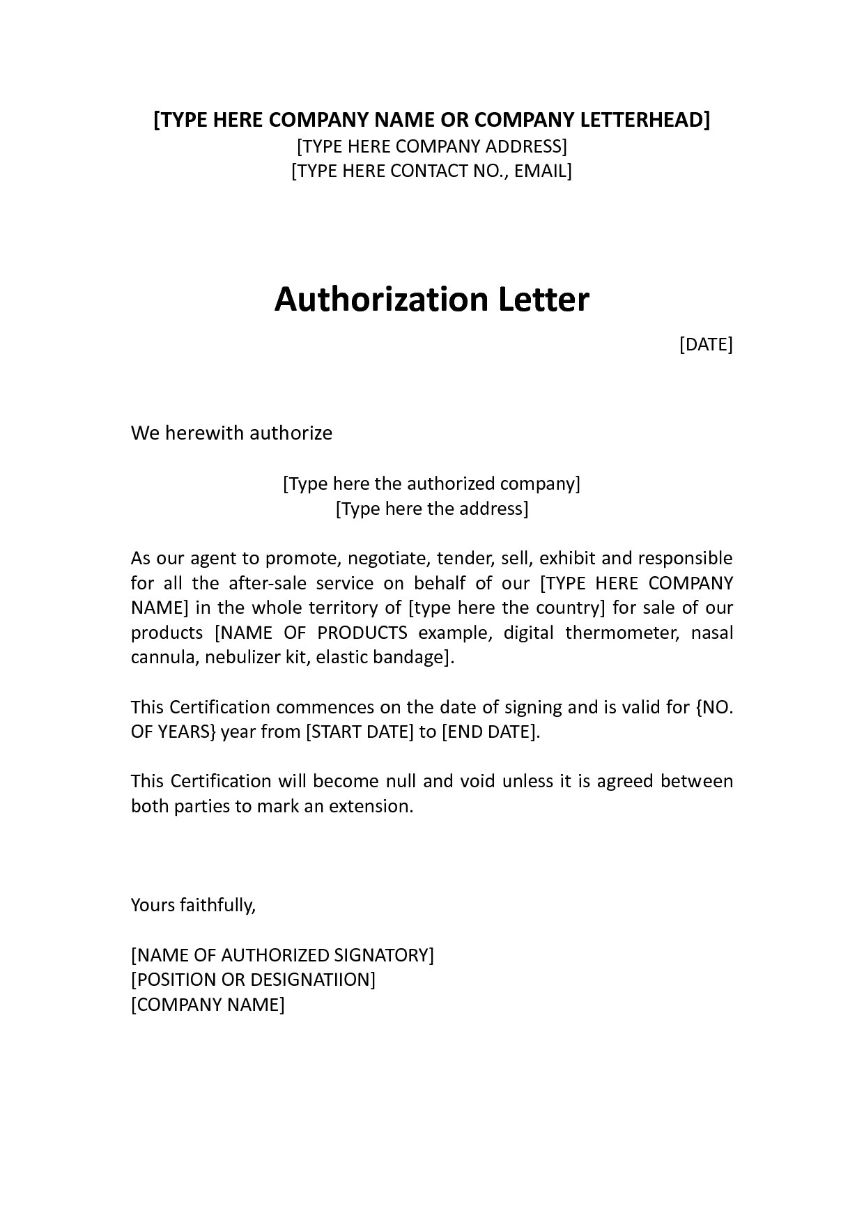 authorize letter sample